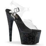 Zwart 18 cm ADORE-708MG glitter plateau schoenen dames met hak
