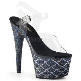 Zwart 18 cm ADORE-708MSLG glitter plateau sandalen met hak