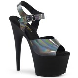 Zwart 18 cm ADORE-708N-DT Hologram hoge hakken schoenen pleaser