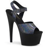 Zwart 18 cm ADORE-708N-MG Hologram plateau schoenen dames met hak