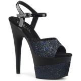 Zwart 18 cm ADORE-709-2G glitter plateau sandalen met hak