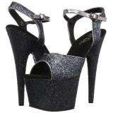 Zwart 18 cm ADORE-710LG glitter plateau schoenen dames met hak