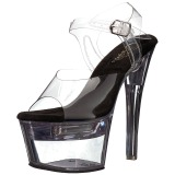 Zwart 18 cm FLASHDANCE-708 LED gloeilamp stripper sandalen paaldans schoenen