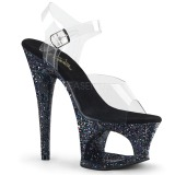 Zwart 18 cm MOON-708LG glitter plateau schoenen dames met hak
