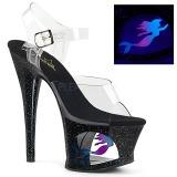 Zwart 18 cm MOON-708MER Neon hoge hakken schoenen pleaser