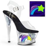 Zwart 18 cm MOON-708RSS Neon hoge hakken schoenen pleaser