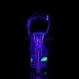 Zwart 18 cm MOON-708RSS Neon plateau schoenen dames met hak