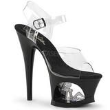 Zwart 18 cm MOON-708TG Platform Schoenen met Hoge Hakken