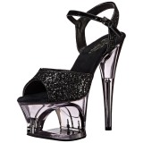 Zwart 18 cm MOON-710GT glitter plateau schoenen dames met hak
