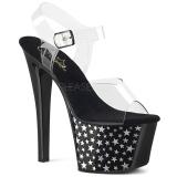 Zwart 18 cm Pleaser SKY-308CP-1 paaldans sandalen met hoge hakken