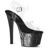 Zwart 18 cm Pleaser SKY-308CP-2 paaldans sandalen met hoge hakken