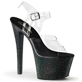 Zwart 18 cm Pleaser SKY-308MG glitter schoenen met hakken
