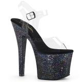 Zwart 18 cm RADIANT-708LG glitter schoenen met hakken