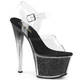 Zwart 18 cm SKY-308G-T glitter plateau sandalen met hak