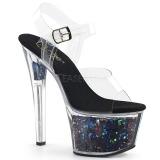 Zwart 18 cm SKY-308GF glitter plateau sandalen met hak