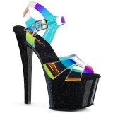 Zwart 18 cm SKY-320MMR glitter hoge hakken schoenen pleaser
