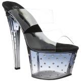 Zwart 18 cm STARDUST-702T Strass steentjes plateau slippers dames