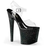 Zwart 19 cm TABOO-708MG glitter plateau schoenen dames met hak