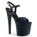 Zwart 19 cm TABOO-709MMG glitter plateau schoenen dames met hak