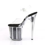 Zwart 20 cm FLAMINGO-808GF glitter plateau schoenen dames met hak