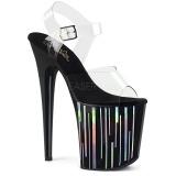 Zwart 20 cm FLAMINGO-808HP-1 Hologram plateau schoenen dames met hak