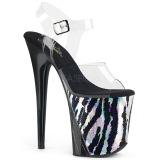 Zwart 20 cm FLAMINGO-808HP-2 Hologram plateau schoenen dames met hak