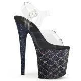 Zwart 20 cm FLAMINGO-808MSLG glitter plateau sandalen met hak