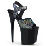 Zwart 20 cm FLAMINGO-808N-CK Hologram hoge hakken schoenen pleaser