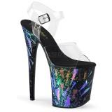 Zwart 20 cm FLAMINGO-808SPLA-1 Hologram plateau schoenen dames met hak