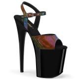 Zwart 20 cm FLAMINGO-809RBDT Hologram plateau schoenen dames met hak