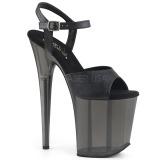 Zwart 20 cm FLAMINGO-809T Acryl hoge hakken schoenen pleaser