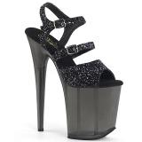 Zwart 20 cm FLAMINGO-874 glitter plateau sandalen met hak