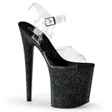 Zwart 20 cm Pleaser FLAMINGO-808MG glitter schoenen met hakken