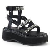 Zwart 5 cm Demonia EMILY-120 gladiator sandalen met plateau