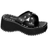 Zwart 6,5 cm FLIP-05 Plateau Gothic Slippers Dames
