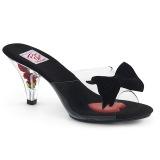 Zwart 7,5 cm BELLE-301BOW Pinup mules schoenen met vlinderdas