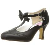 Zwart 7,5 cm FLAPPER-11 Pinup pumps schoenen met lage hakken