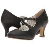 Zwart 7,5 cm FLAPPER-35 Pinup pumps schoenen met lage hakken