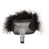 Zwart 8 cm BELLE-301F maraboe veren Mules Schoenen