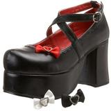 Zwart 9,5 cm ABBEY-03 gothic lolita schoenen plateauzolen