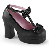 Zwart 9,5 cm GOTHIKA-04 lolita schoenen gothic punk schoenen met dikke zolen
