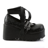 Zwart 9 cm DEMONIA SCENE-20 gothic plateau schoenen