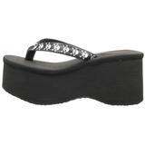 Zwart 9 cm FUNN-17 Plateau Gothic Slippers Dames