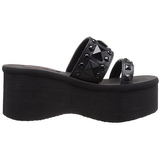 Zwart 9 cm FUNN-18 Plateau Gothic Slippers Dames