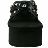 Zwart 9 cm FUNN-29 Plateau Gothic Slippers Dames