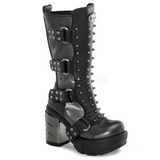 Zwart 9 cm SINISTER-202 plateau laarzen dames met gespen