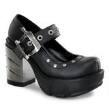 Zwart 9 cm SINISTER-59 lolita damesschoenen met plateauzolen