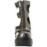 Zwart 9 cm SINISTER-61 lolita enkellaarzen gothic met dikke zolen