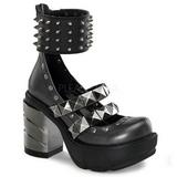 Zwart 9 cm SINISTER-62 lolita damesschoenen met plateauzolen