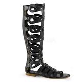 Zwart ATHENA-200 lange kniehoge gladiator sandalen dames